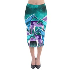 Horses under a galaxy Midi Pencil Skirt