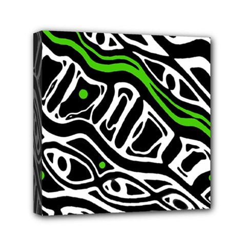 Green, black and white abstract art Mini Canvas 6  x 6