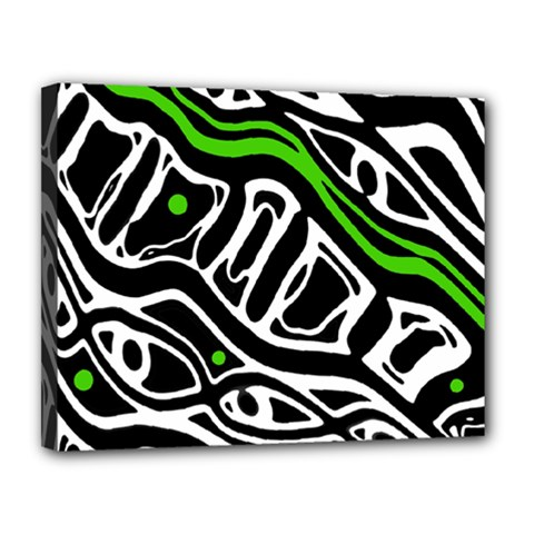Green, black and white abstract art Canvas 14  x 11