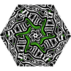 Green, black and white abstract art Mini Folding Umbrellas