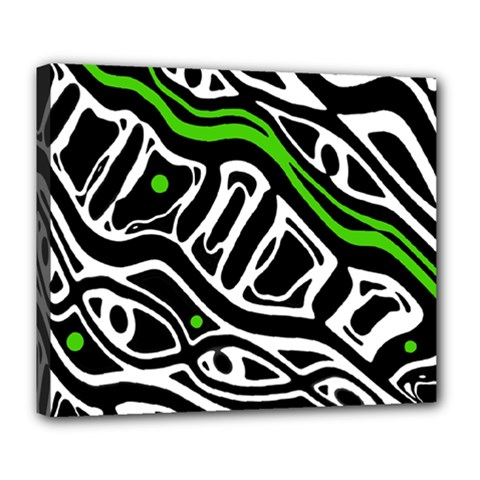 Green, black and white abstract art Deluxe Canvas 24  x 20
