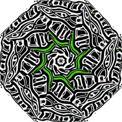 Green, black and white abstract art Hook Handle Umbrellas (Large)