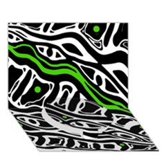 Green, black and white abstract art Circle Bottom 3D Greeting Card (7x5)