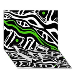 Green, black and white abstract art LOVE Bottom 3D Greeting Card (7x5)