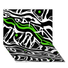 Green, black and white abstract art Clover 3D Greeting Card (7x5)