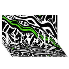 Green, black and white abstract art BEST SIS 3D Greeting Card (8x4)
