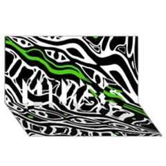 Green, black and white abstract art HUGS 3D Greeting Card (8x4)