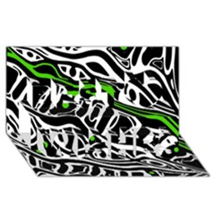 Green, black and white abstract art Best Wish 3D Greeting Card (8x4)