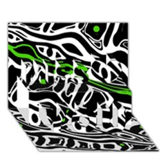 Green, black and white abstract art Miss You 3D Greeting Card (7x5)