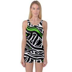 Green, black and white abstract art One Piece Boyleg Swimsuit