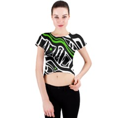 Green, black and white abstract art Crew Neck Crop Top