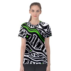 Green, black and white abstract art Women s Sport Mesh Tee