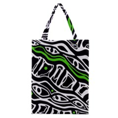 Green, black and white abstract art Classic Tote Bag