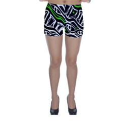 Green, black and white abstract art Skinny Shorts