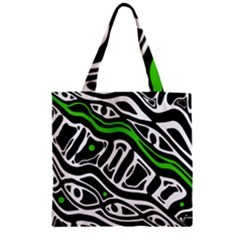 Green, black and white abstract art Zipper Grocery Tote Bag
