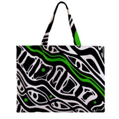 Green, black and white abstract art Zipper Mini Tote Bag