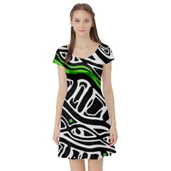 Green, black and white abstract art Short Sleeve Skater Dress