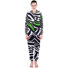 Green, black and white abstract art Hooded Jumpsuit (Ladies)