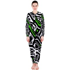 Green, black and white abstract art OnePiece Jumpsuit (Ladies)