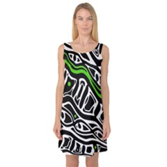 Green, black and white abstract art Sleeveless Satin Nightdress
