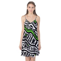 Green, black and white abstract art Camis Nightgown