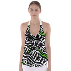 Green, Black And White Abstract Art Babydoll Tankini Top