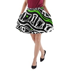 Green, black and white abstract art A-Line Pocket Skirt
