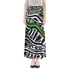 Green, black and white abstract art Maxi Skirts