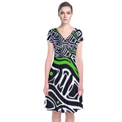Green, black and white abstract art Short Sleeve Front Wrap Dress