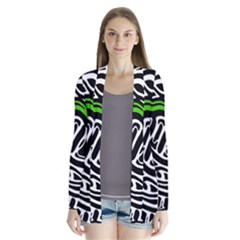 Green, black and white abstract art Drape Collar Cardigan