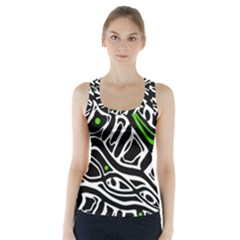Green, black and white abstract art Racer Back Sports Top