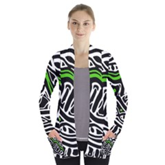 Green, black and white abstract art Women s Open Front Pockets Cardigan(P194)