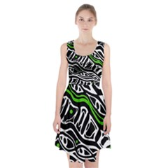 Green, black and white abstract art Racerback Midi Dress