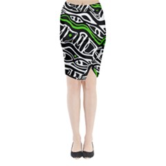 Green, black and white abstract art Midi Wrap Pencil Skirt