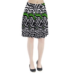 Green, black and white abstract art Pleated Skirt