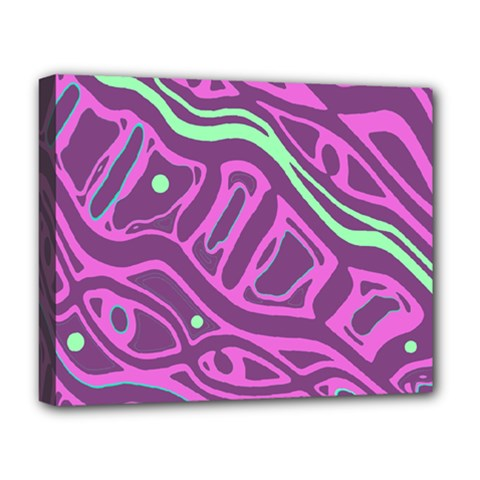 Purple and green abstract art Deluxe Canvas 20  x 16