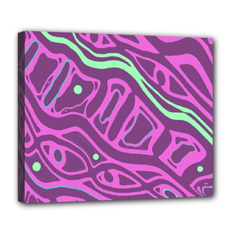 Purple and green abstract art Deluxe Canvas 24  x 20