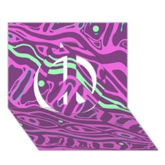 Purple and green abstract art Peace Sign 3D Greeting Card (7x5)