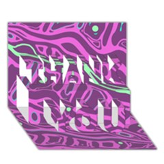 Purple and green abstract art THANK YOU 3D Greeting Card (7x5)