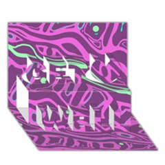 Purple and green abstract art Get Well 3D Greeting Card (7x5)