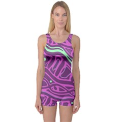 Purple and green abstract art One Piece Boyleg Swimsuit