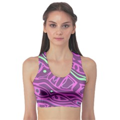 Purple and green abstract art Sports Bra