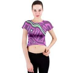 Purple and green abstract art Crew Neck Crop Top