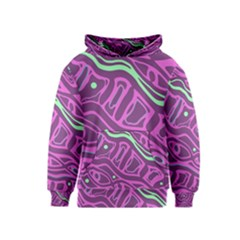 Purple and green abstract art Kids  Pullover Hoodie