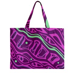 Purple and green abstract art Zipper Mini Tote Bag