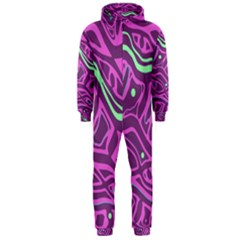 Purple and green abstract art Hooded Jumpsuit (Men)