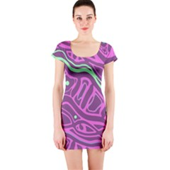 Purple and green abstract art Short Sleeve Bodycon Dress