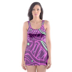 Purple and green abstract art Skater Dress Swimsuit