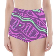 Purple and green abstract art High-Waisted Bikini Bottoms