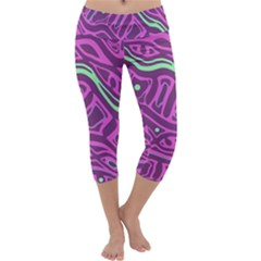 Purple and green abstract art Capri Yoga Leggings